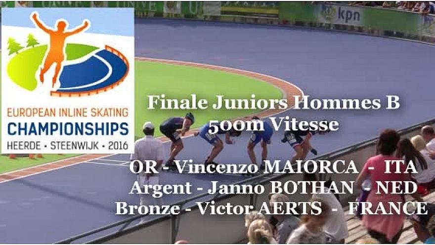 Victor AERTS Médaille de Bronze au Championnat d'Europe  RollerPiste 2016 d'Heerde : Finale JH 500m vitesse B @FFRollerSports #TvLocale_fr